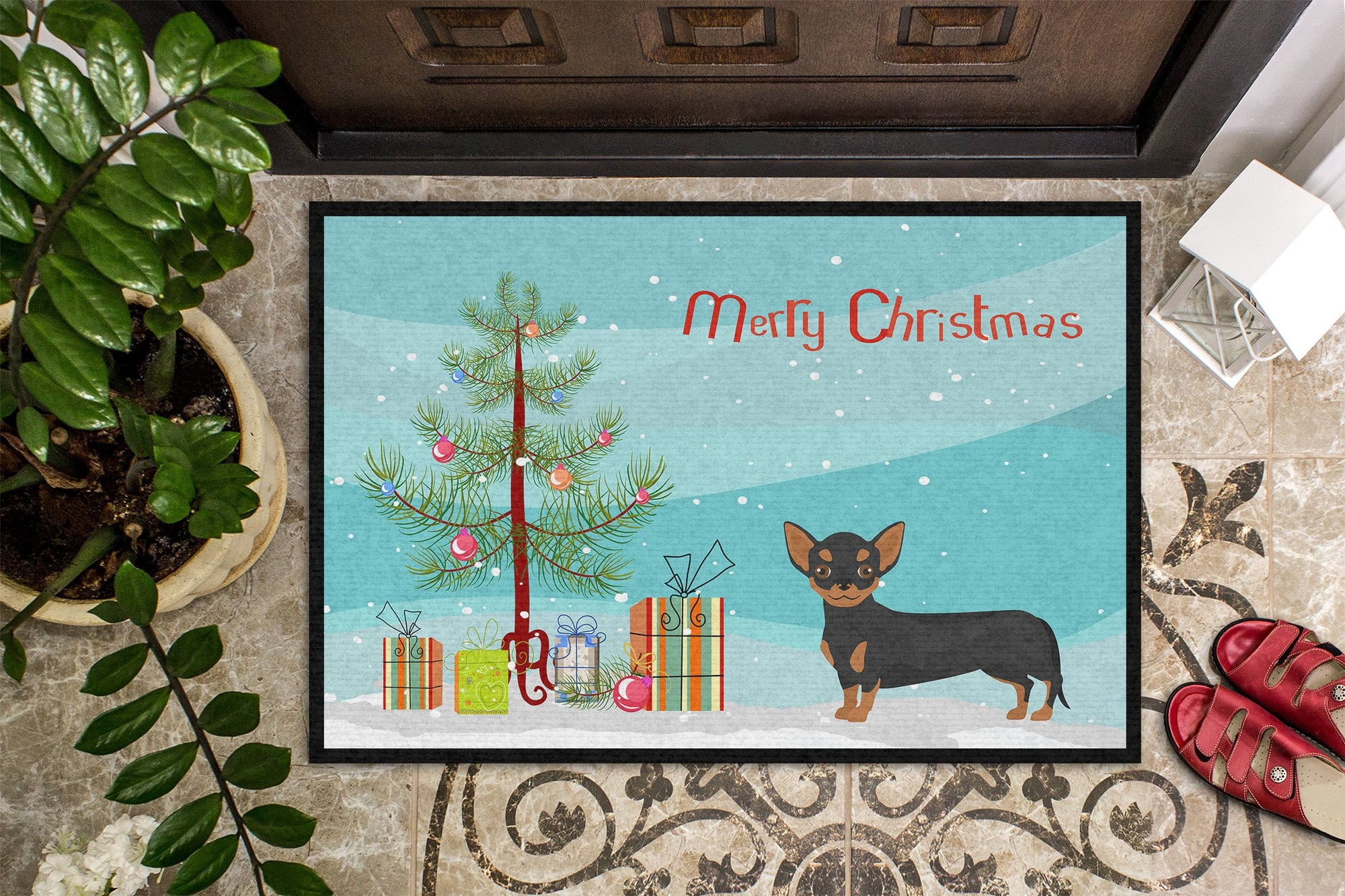 Black and Tan Chiweenie Christmas Tree Indoor or Outdoor Mat 24x36 CK3816JMAT by Caroline's Treasures