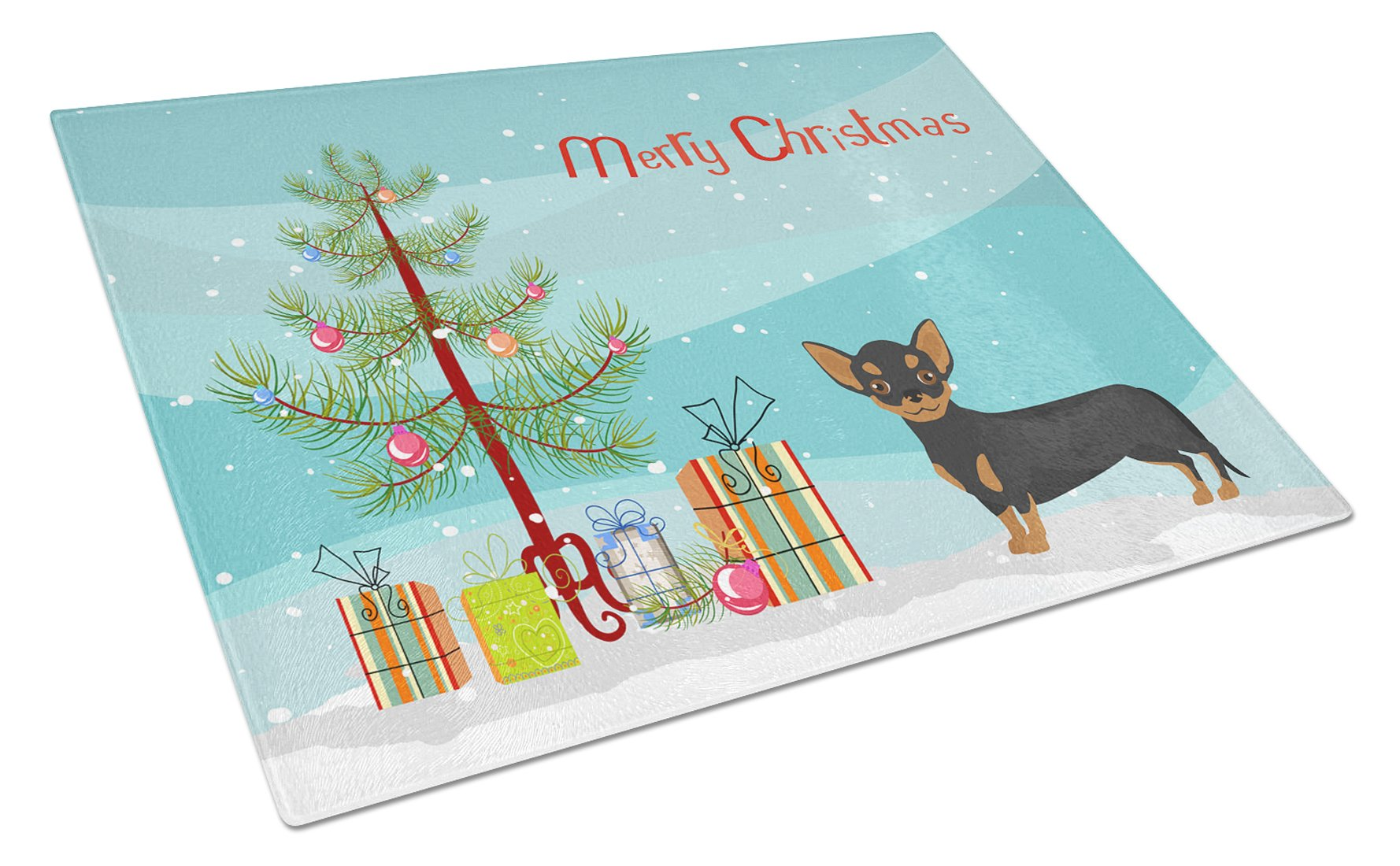 Buy this Black and Tan Chiweenie Christmas Tree Glass Cutting Board Large CK3816LCB