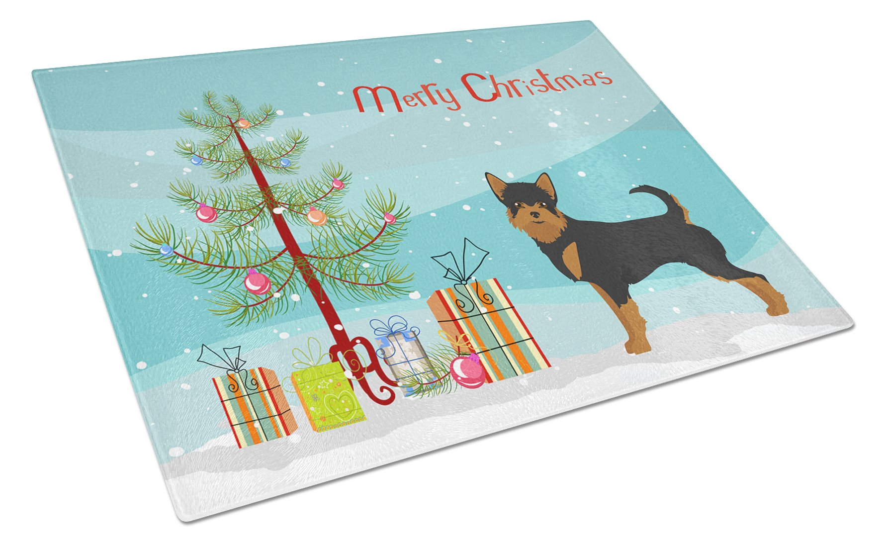 Buy this Black and Tan Chorkie Christmas Tree Glass Cutting Board Large CK3817LCB