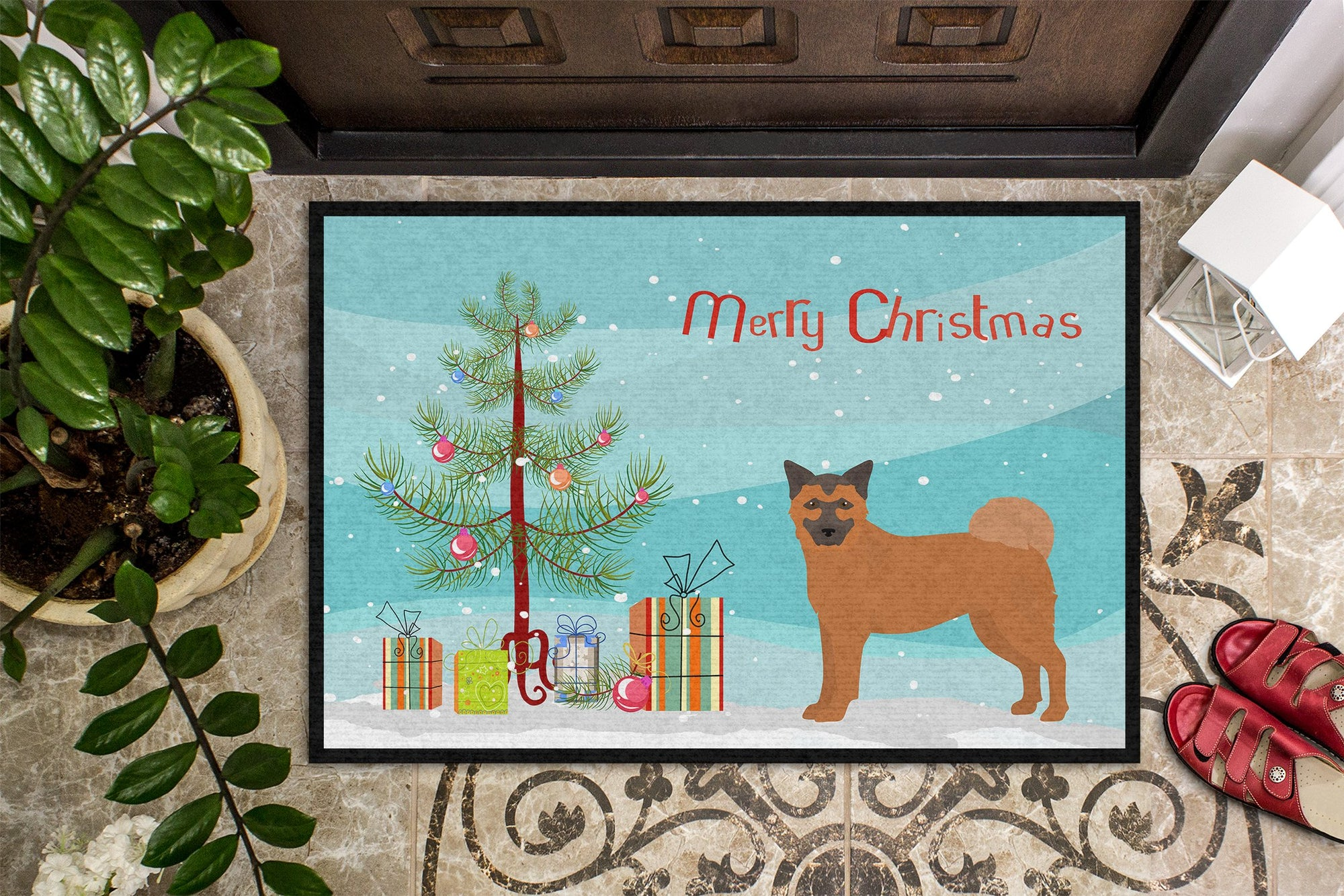 Buy this Chow Shepherd Christmas Tree Indoor or Outdoor Mat 24x36 CK3819JMAT