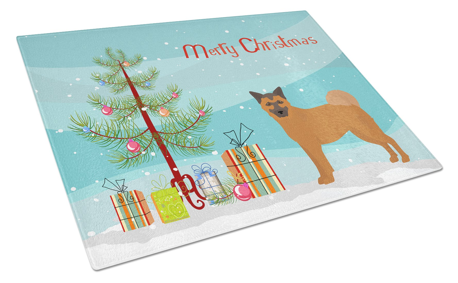 Buy this Chow Shepherd Christmas Tree Glass Cutting Board Large CK3819LCB