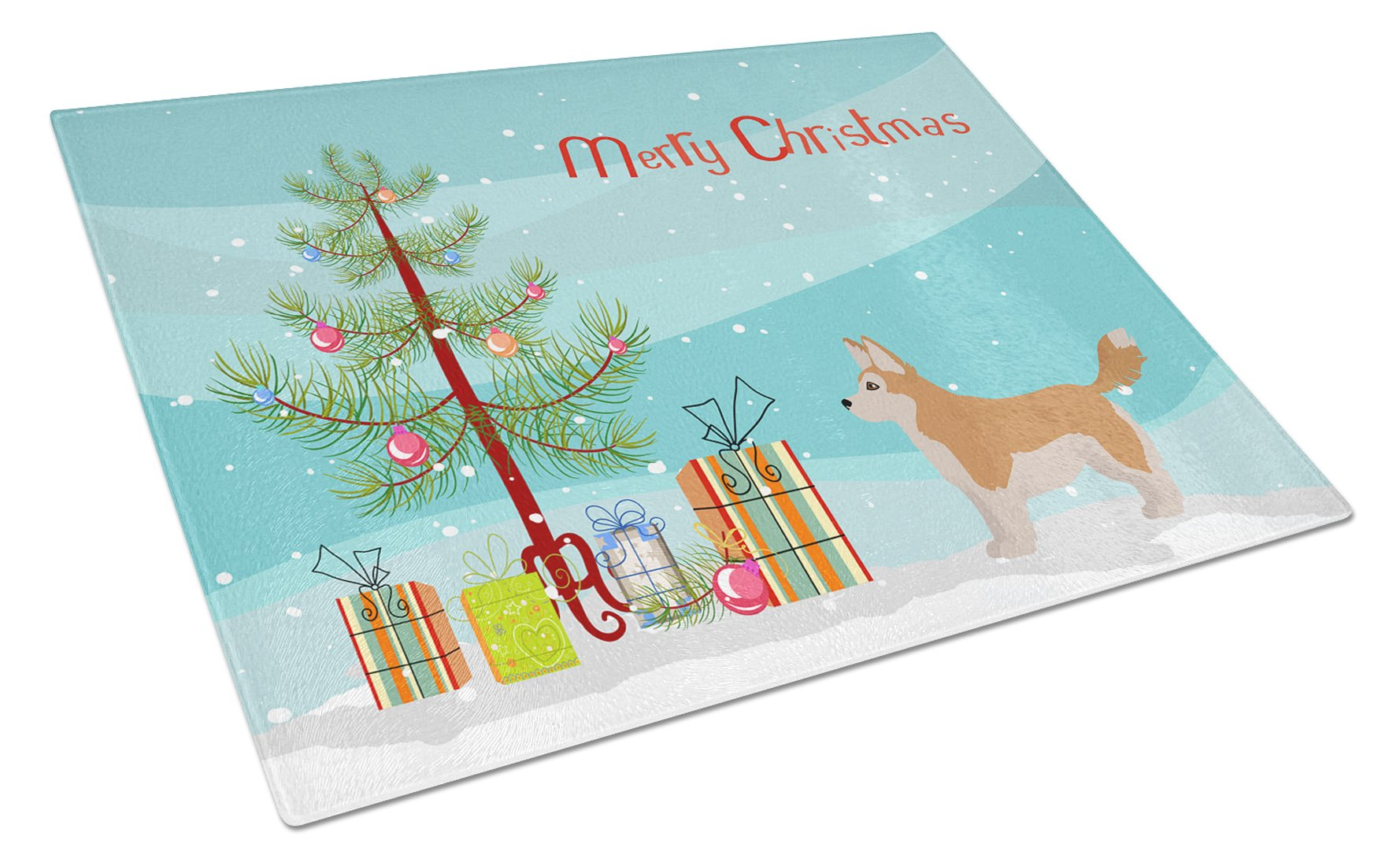 Buy this Corgi Husky Mix Christmas Tree Glass Cutting Board Large CK3824LCB