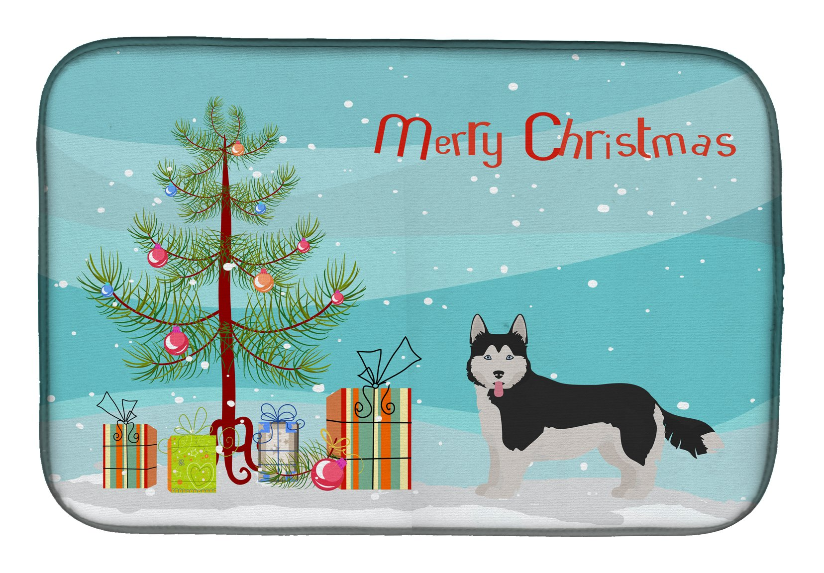 Corgi Husky Mix #2 Christmas Tree Dish Drying Mat CK3825DDM by Caroline's Treasures
