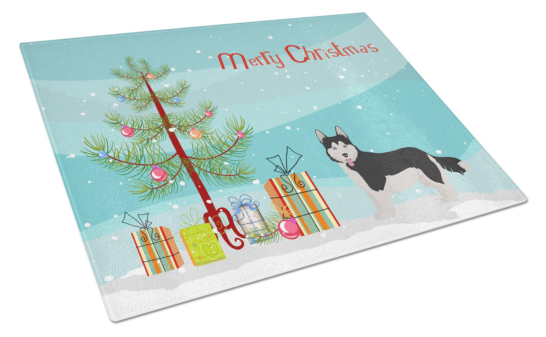 Buy this Corgi Husky Mix #2 Christmas Tree Glass Cutting Board Large CK3825LCB