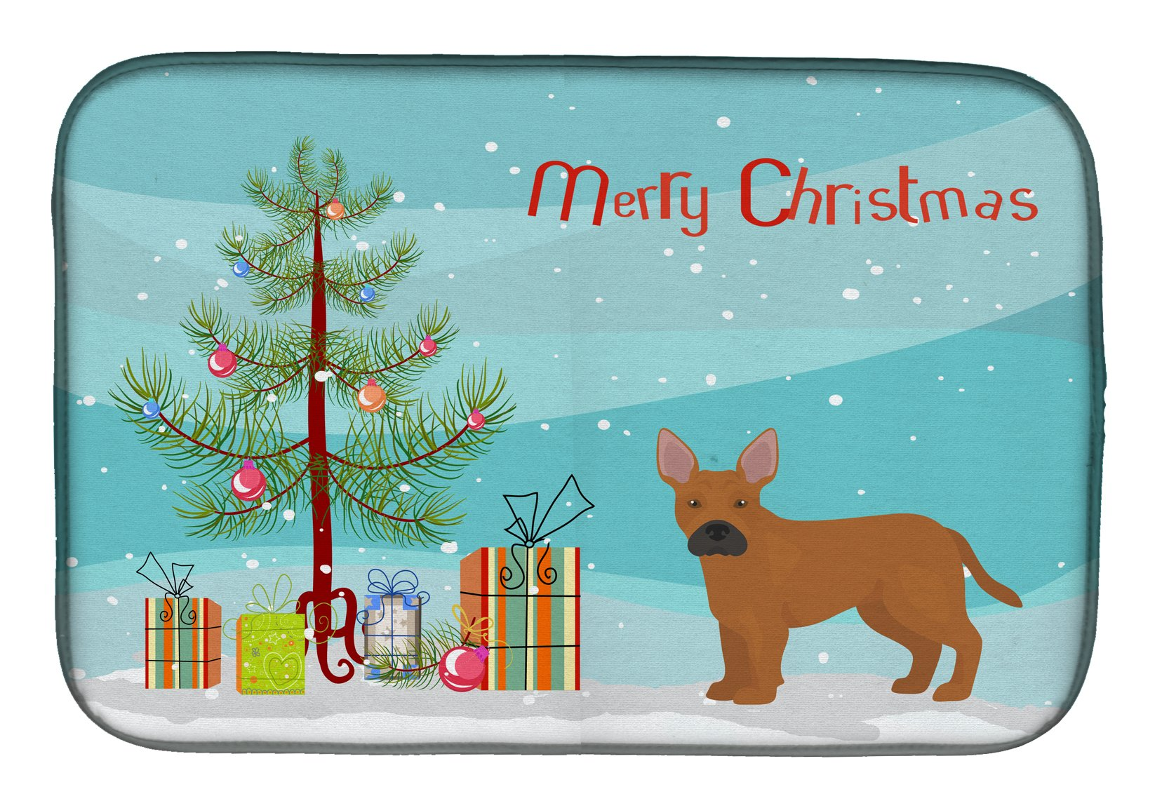 Buy this Tan French Bulldog Pit Bull Mix Christmas Tree Dish Drying Mat CK3828DDM