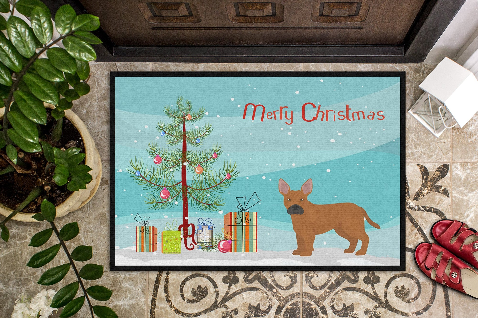 Tan French Bulldog Pit Bull Mix Christmas Tree Indoor or Outdoor Mat 24x36 CK3828JMAT by Caroline's Treasures