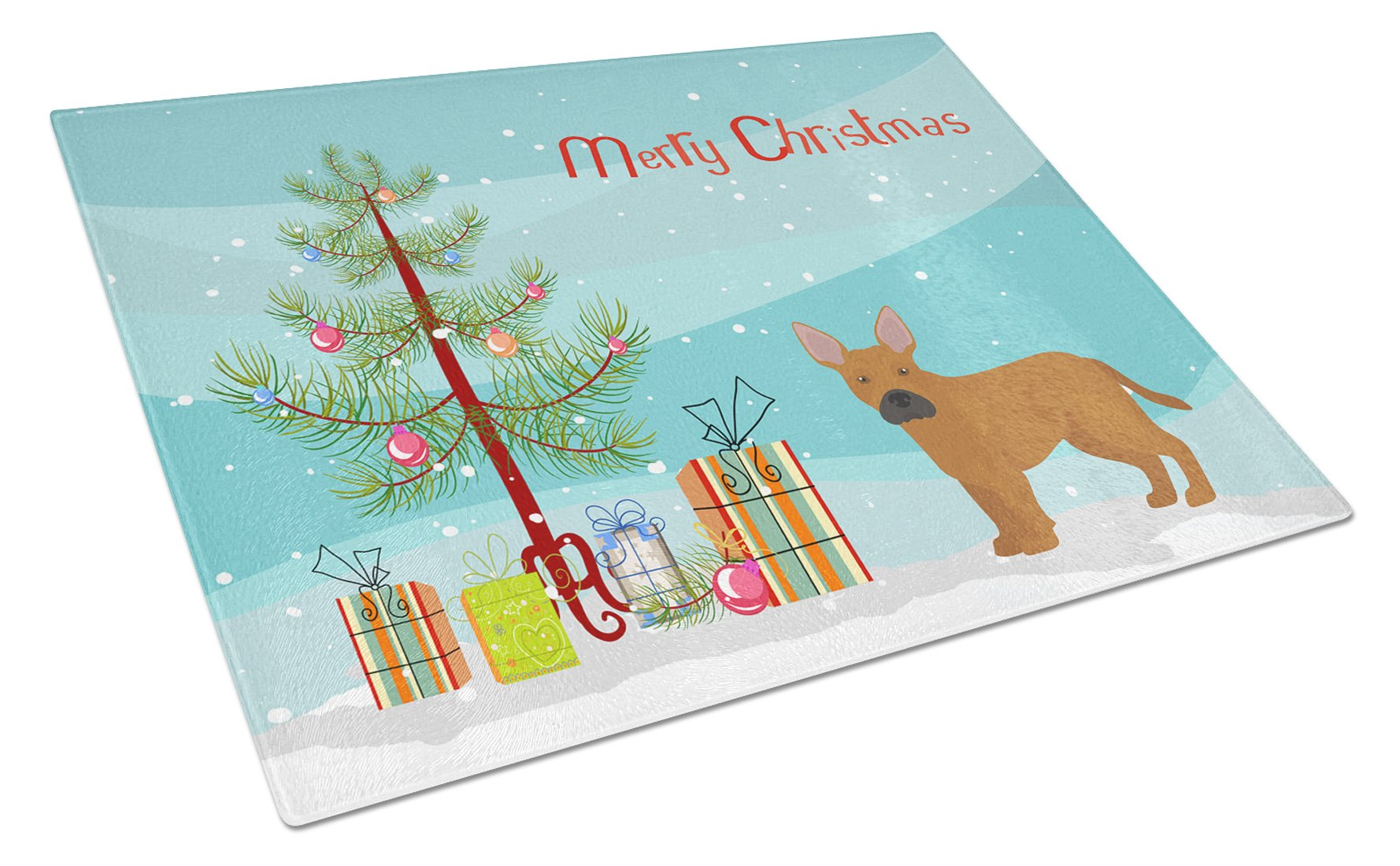 Buy this Tan French Bulldog Pit Bull Mix Christmas Tree Glass Cutting Board Large CK3828LCB
