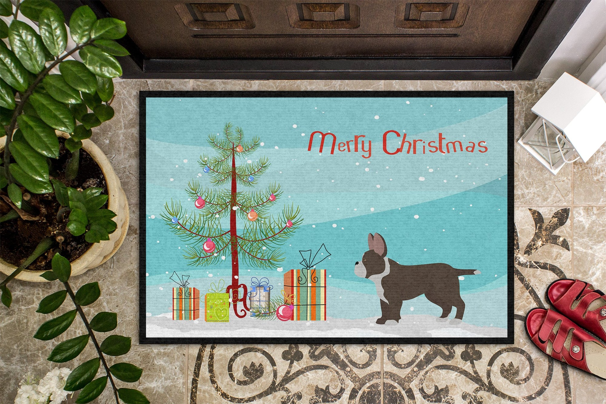 Black French Bulldog Pit Bull Mix Christmas Tree Indoor or Outdoor Mat 24x36 CK3829JMAT by Caroline's Treasures