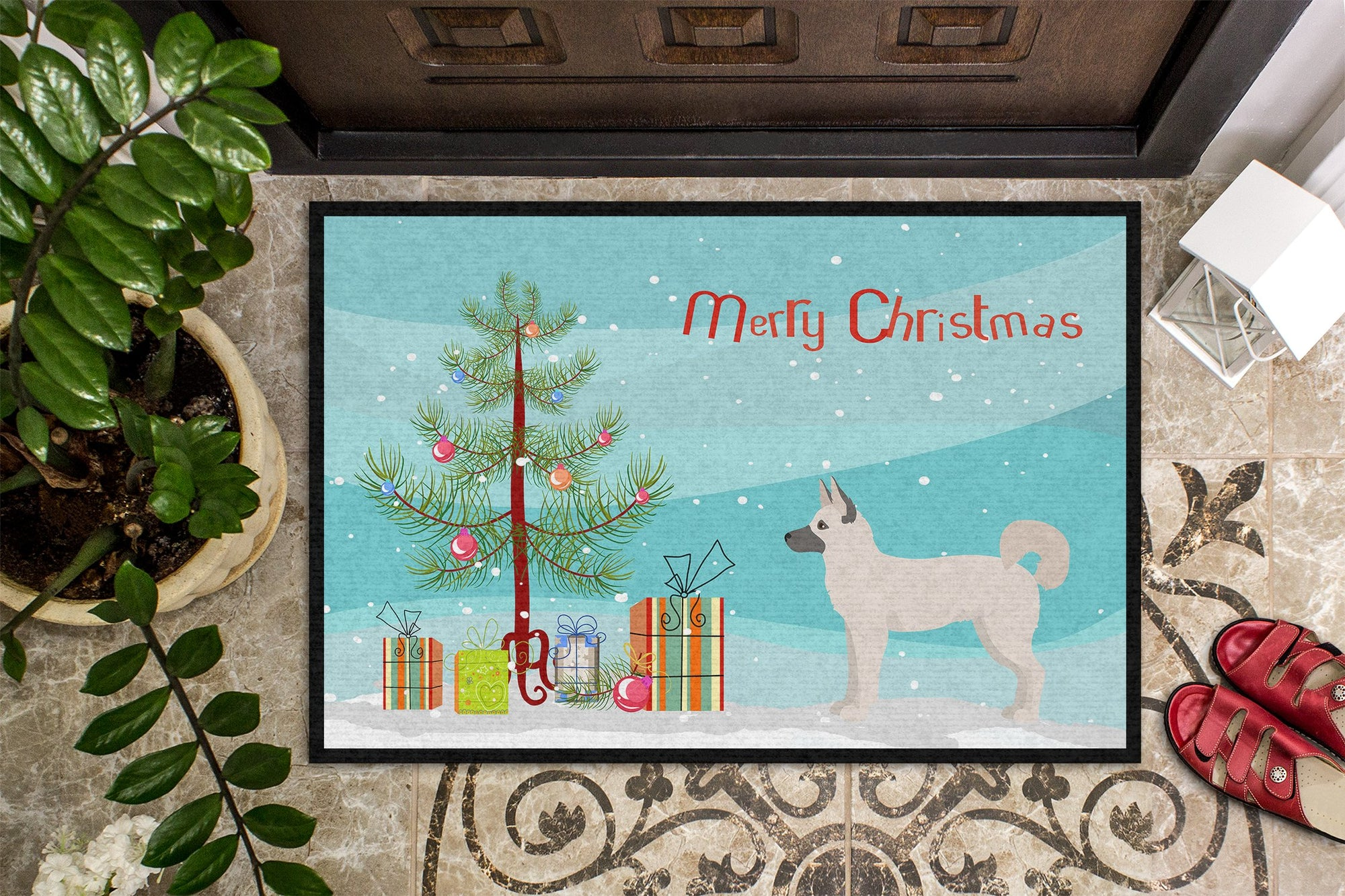 Gerberian Shepsky Christmas Tree Indoor or Outdoor Mat 24x36 CK3830JMAT by Caroline's Treasures