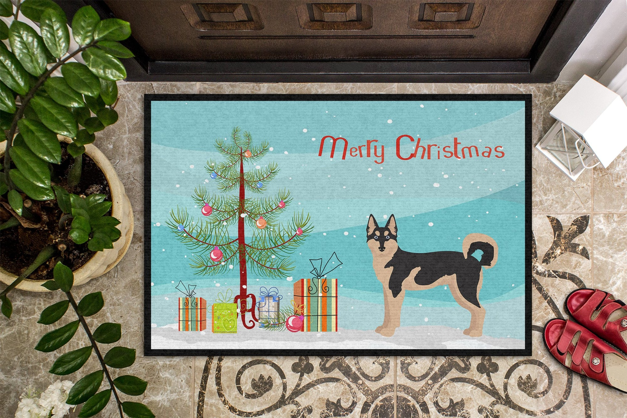 Gerberian Shepsky #2 Christmas Tree Indoor or Outdoor Mat 24x36 CK3831JMAT by Caroline's Treasures