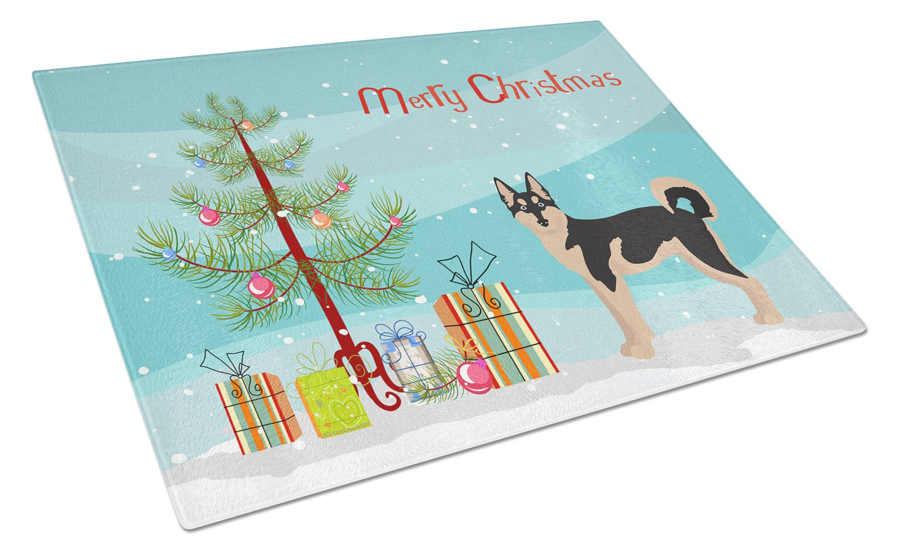 Gerberian Shepsky #2 Christmas Tree Glass Cutting Board Large CK3831LCB by Caroline's Treasures