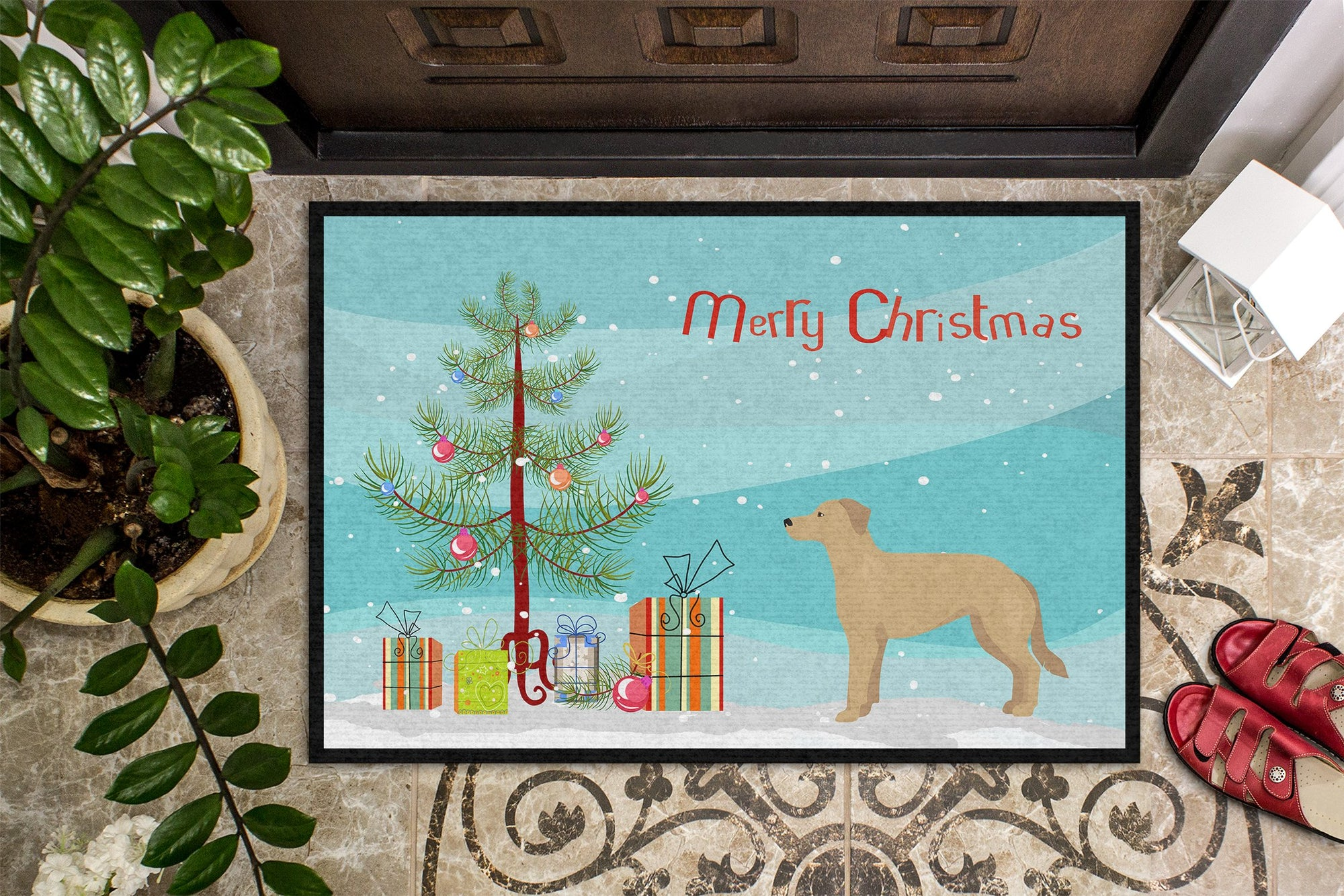 German Sheprador #1 Christmas Tree Indoor or Outdoor Mat 24x36 CK3834JMAT by Caroline's Treasures