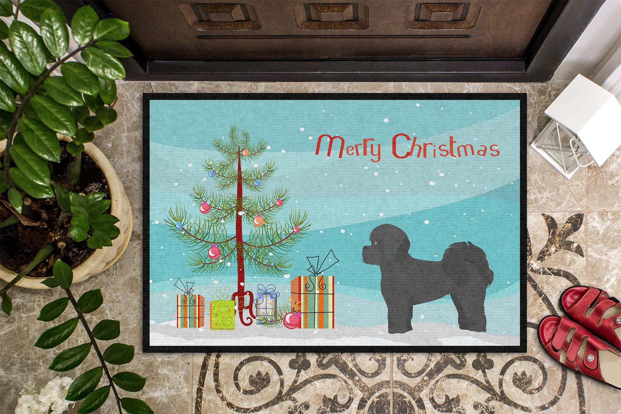 Black Mal-Shi Christmas Tree Indoor or Outdoor Mat 24x36 CK3852JMAT by Caroline's Treasures