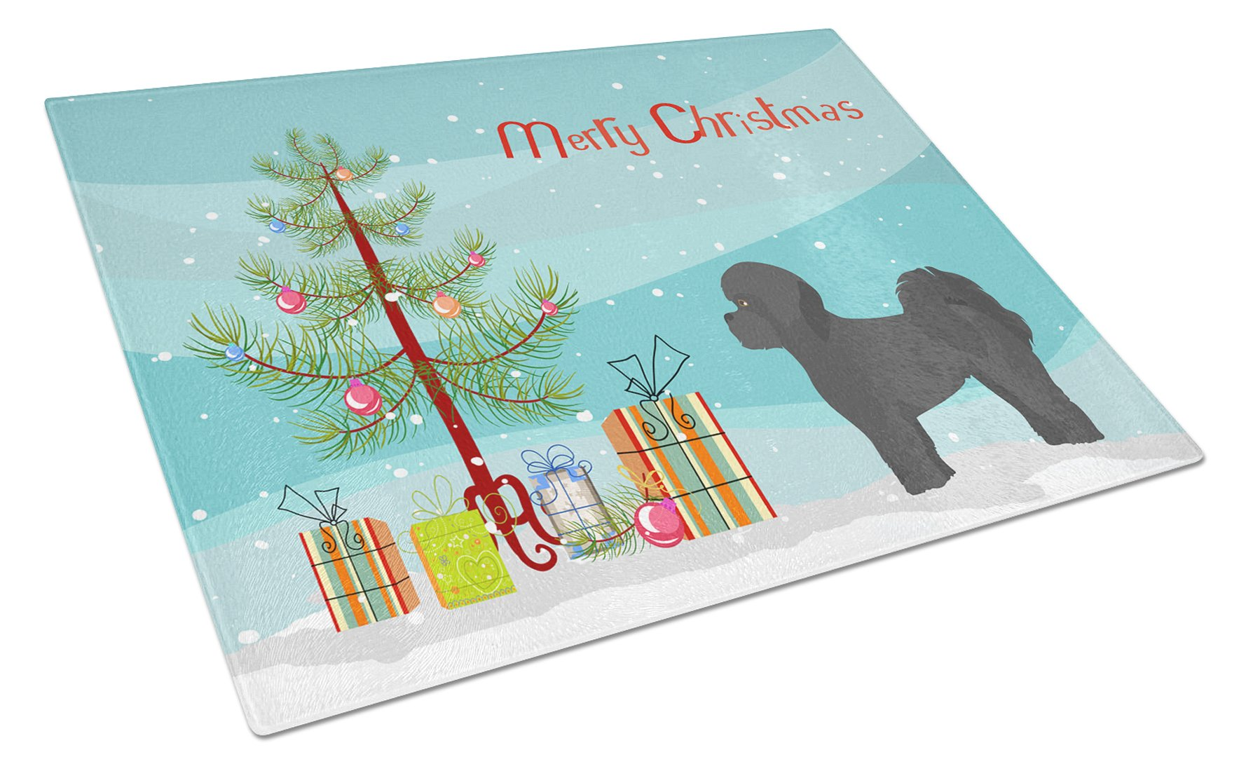 Black Mal-Shi Christmas Tree Glass Cutting Board Large CK3852LCB by Caroline's Treasures