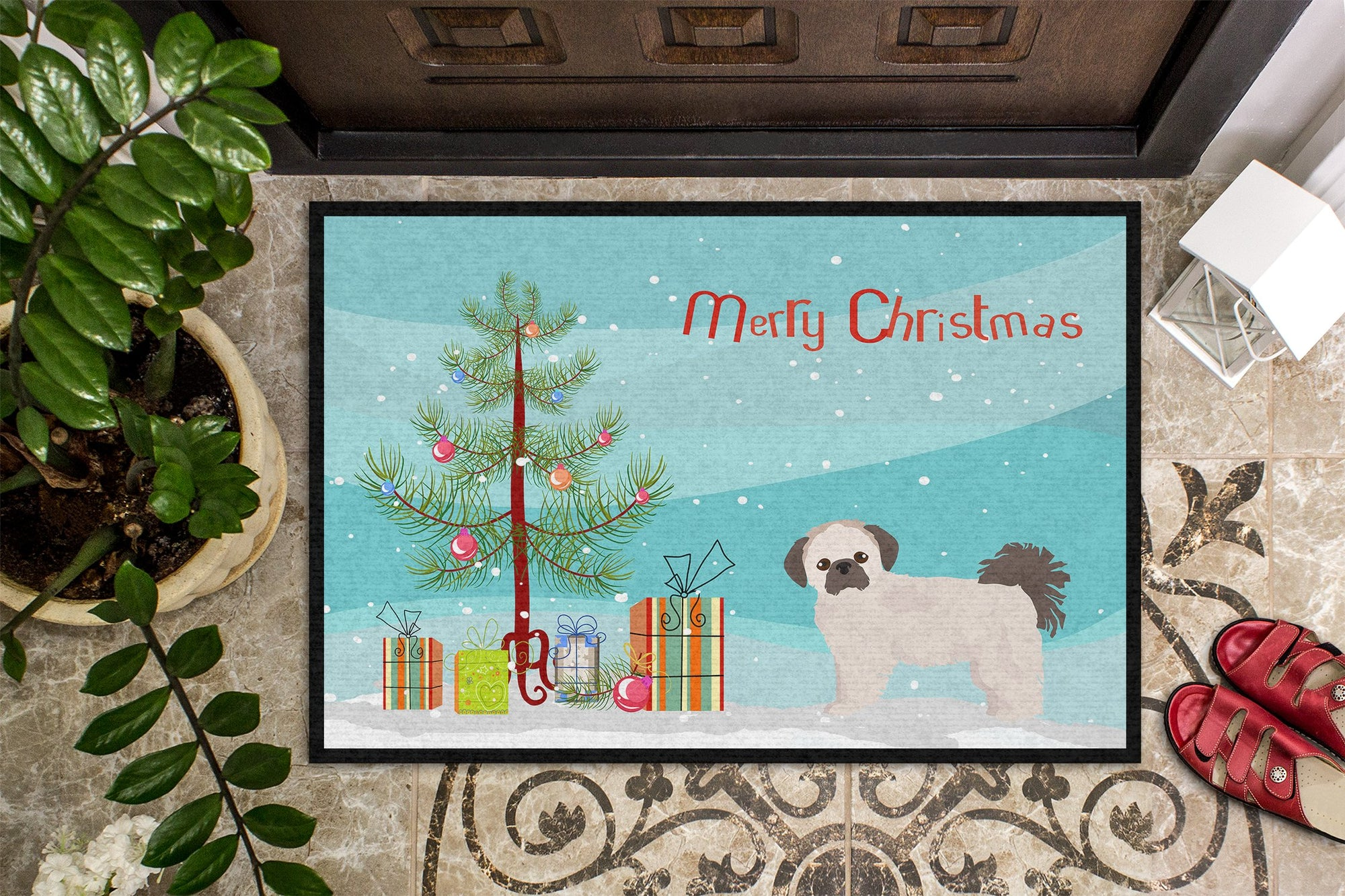 Pekeapoo Christmas Tree Indoor or Outdoor Mat 24x36 CK3857JMAT by Caroline's Treasures