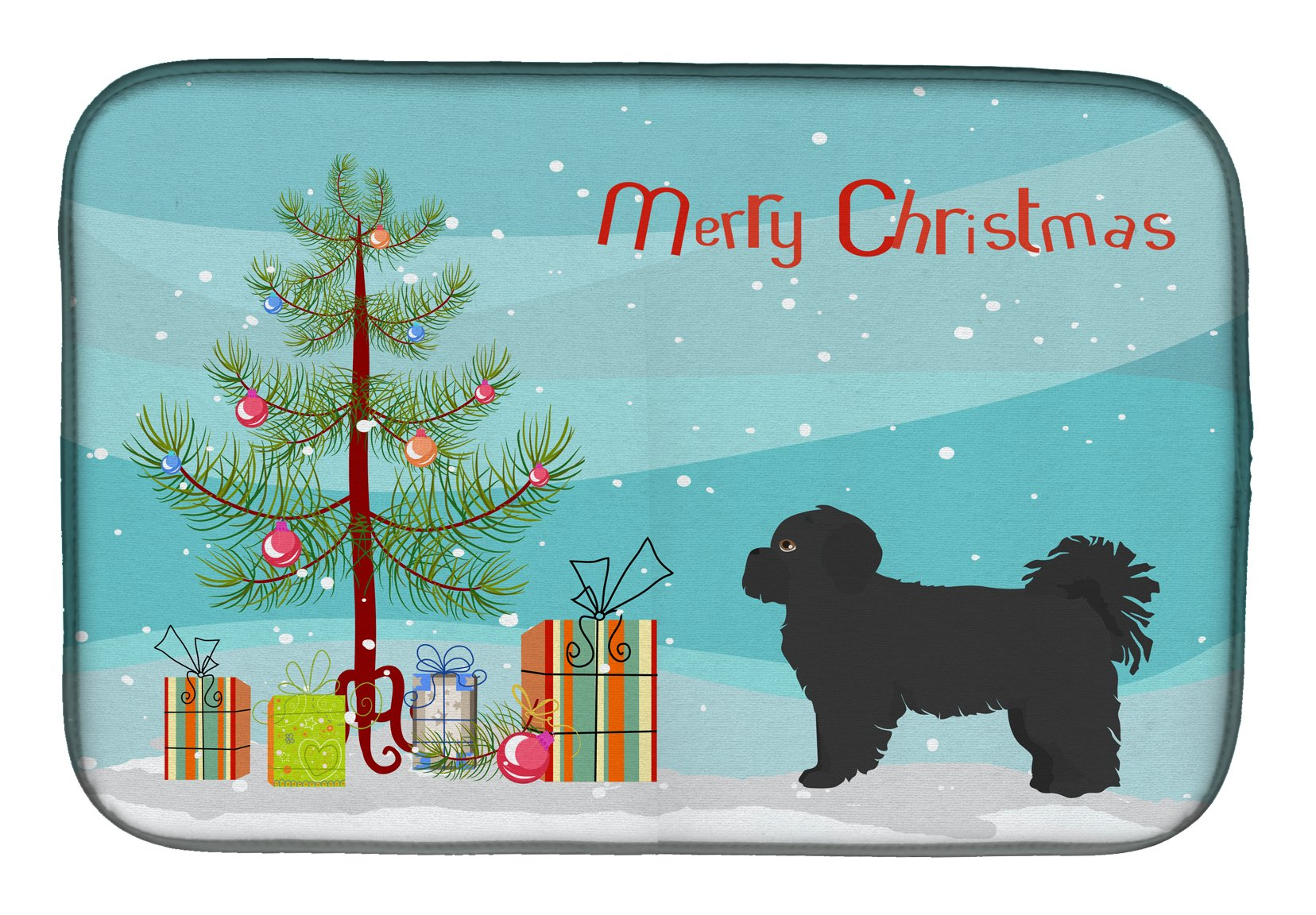 Buy this Black Pekeapoo Christmas Tree Dish Drying Mat CK3858DDM
