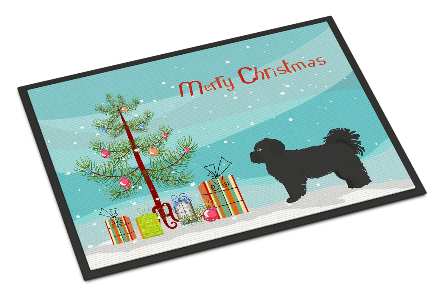 Black Pekeapoo Christmas Tree Indoor or Outdoor Mat 24x36 CK3858JMAT by Caroline's Treasures