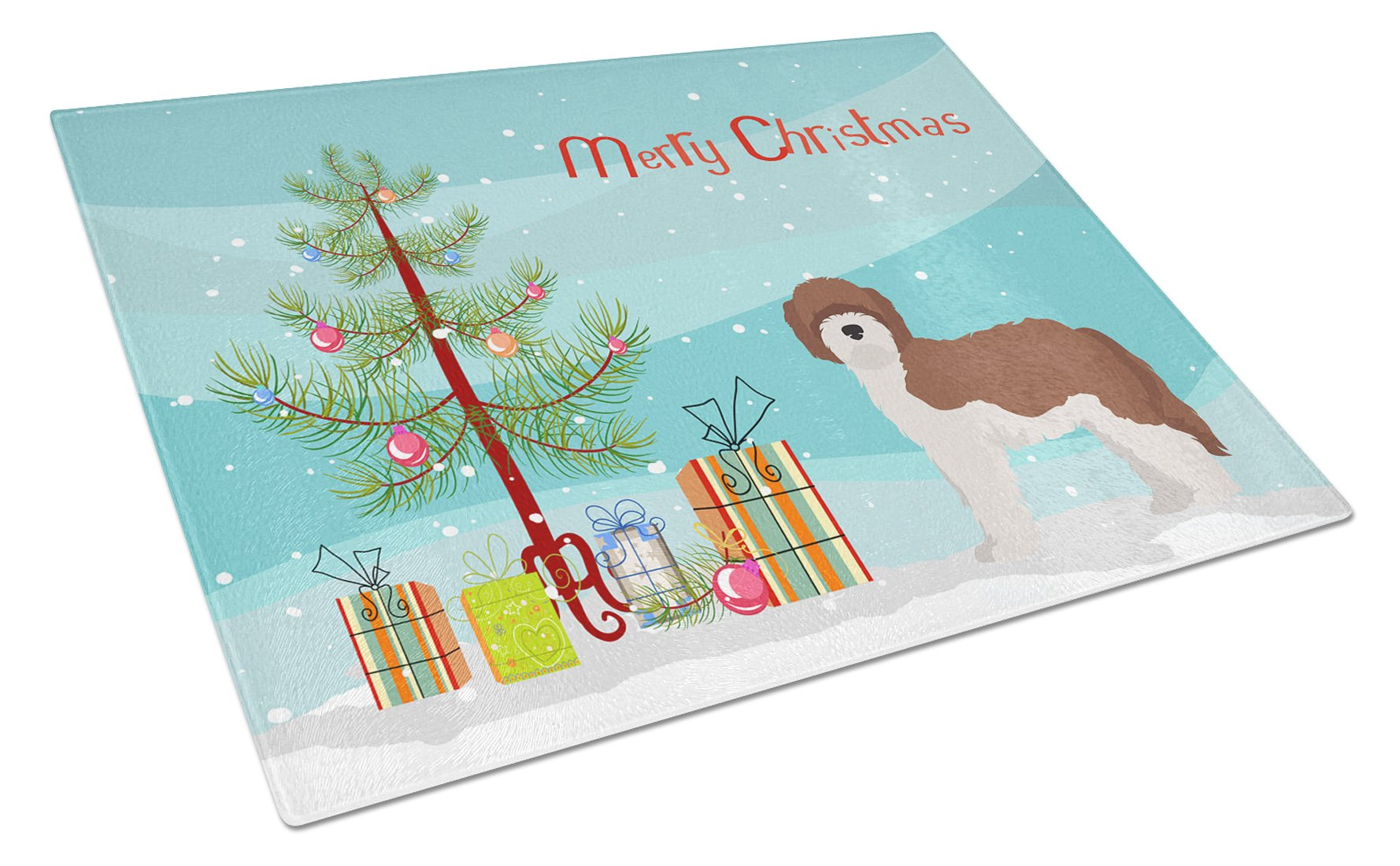 Buy this Sheepadoodle Christmas Tree Glass Cutting Board Large CK3867LCB
