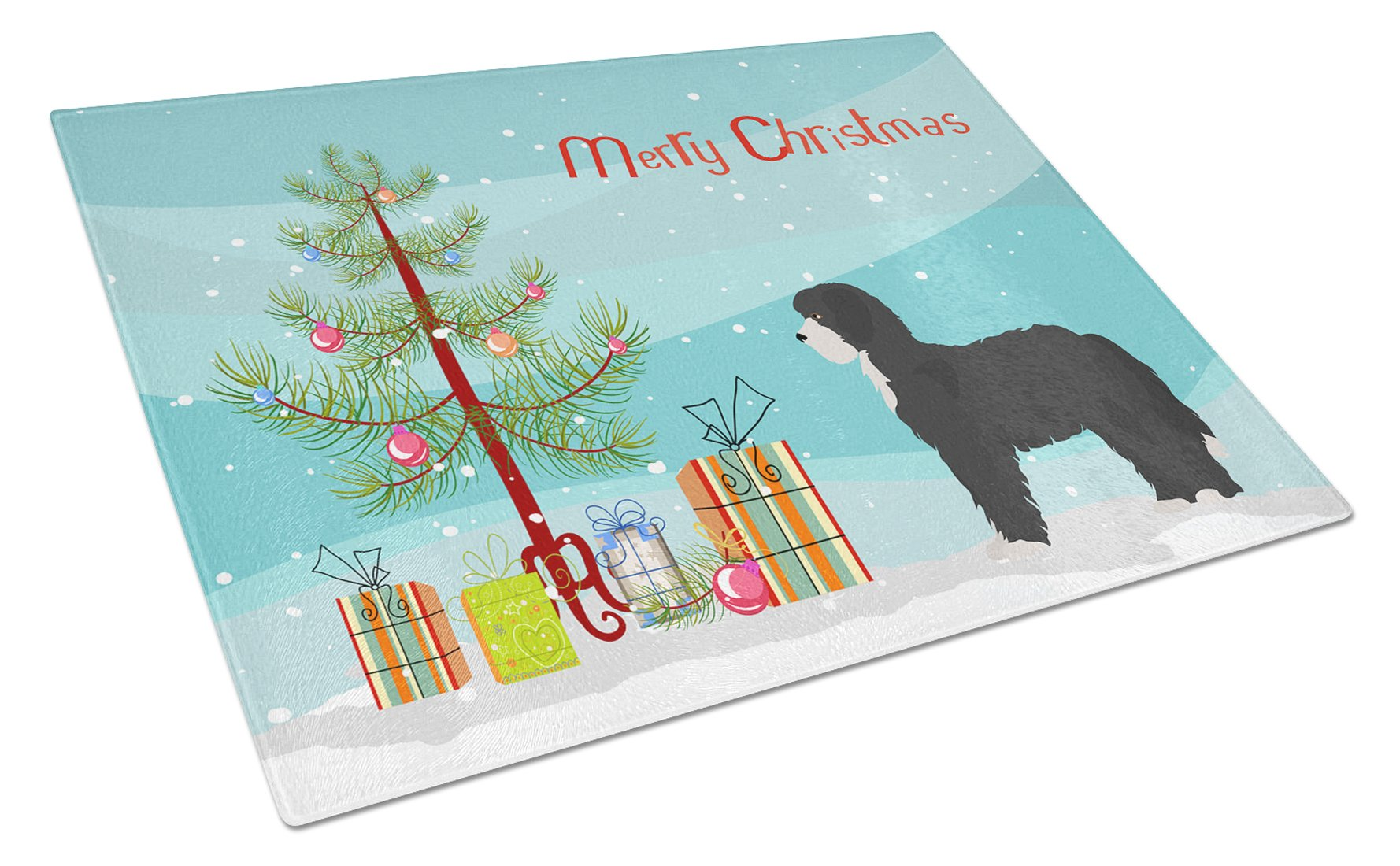 Buy this Black Sheepadoodle Christmas Tree Glass Cutting Board Large CK3868LCB