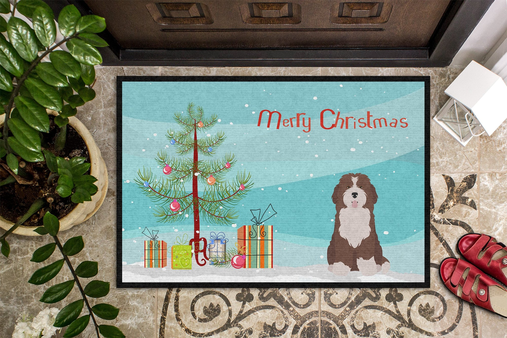 Bernedoodle #2 Christmas Tree Indoor or Outdoor Mat 24x36 CK3886JMAT by Caroline's Treasures