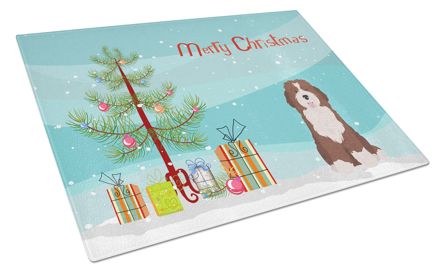 Buy this Bernedoodle #2 Christmas Tree Glass Cutting Board Large CK3886LCB