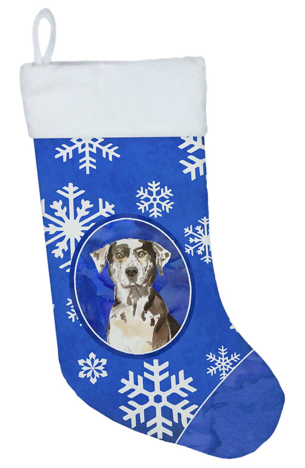 Buy this Catahoula Leopard Dog Winter Snowflakes Christmas Stocking CK3920CS