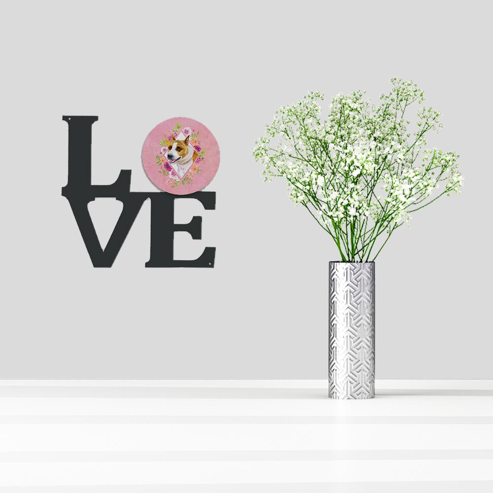 Bull Terrier Pink Flowers Metal Wall Artwork LOVE CK4114WALV by Caroline's Treasures