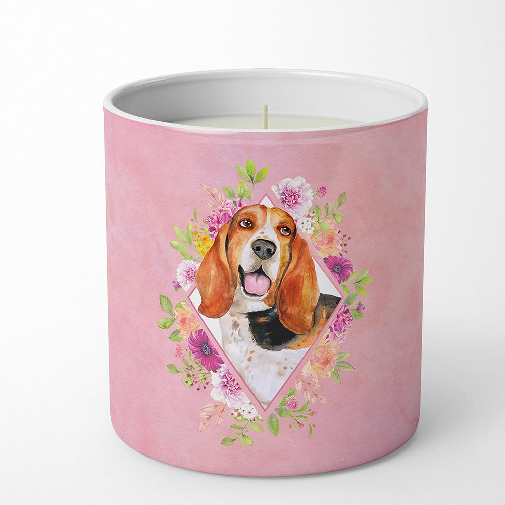 Basset Hound Pink Flowers 10 oz Decorative Soy Candle CK4116CDL by Caroline's Treasures