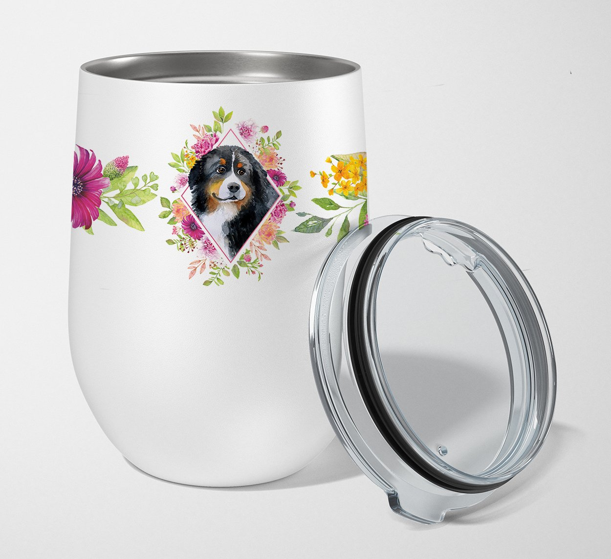 Bernese Mountain Dog Pink Flowers Stainless Steel 12 oz Stemless Wine Glass CK4118TBL12 by Caroline's Treasures