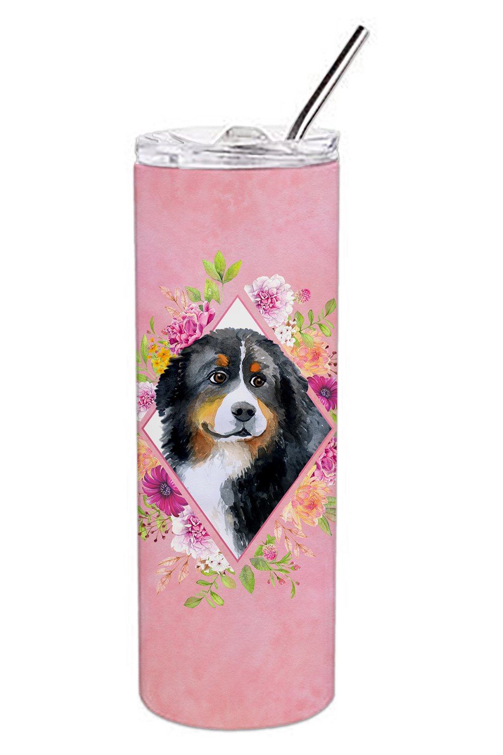 Bernese Mountain Dog Pink Flowers Double Walled Stainless Steel 20 oz Skinny Tumbler CK4118TBL20 by Caroline's Treasures