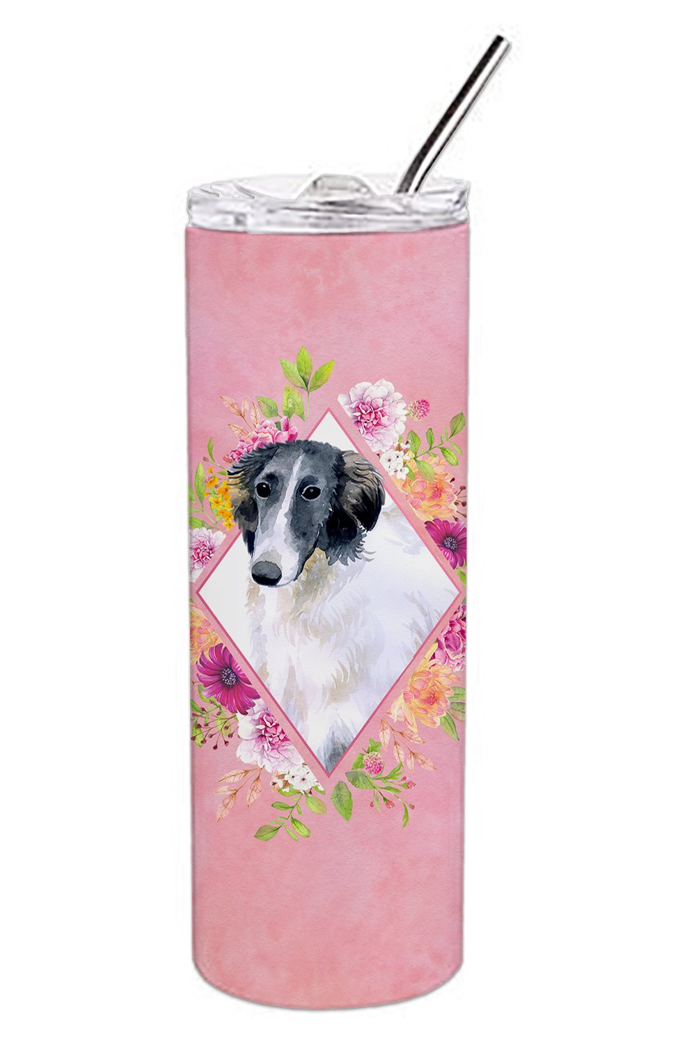 Borzoi Pink Flowers Double Walled Stainless Steel 20 oz Skinny Tumbler CK4122TBL20 by Caroline's Treasures