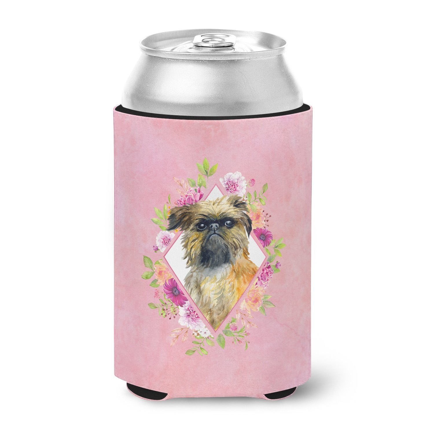 Brussels Griffon Pink Flowers Can or Bottle Hugger CK4123CC by Caroline's Treasures