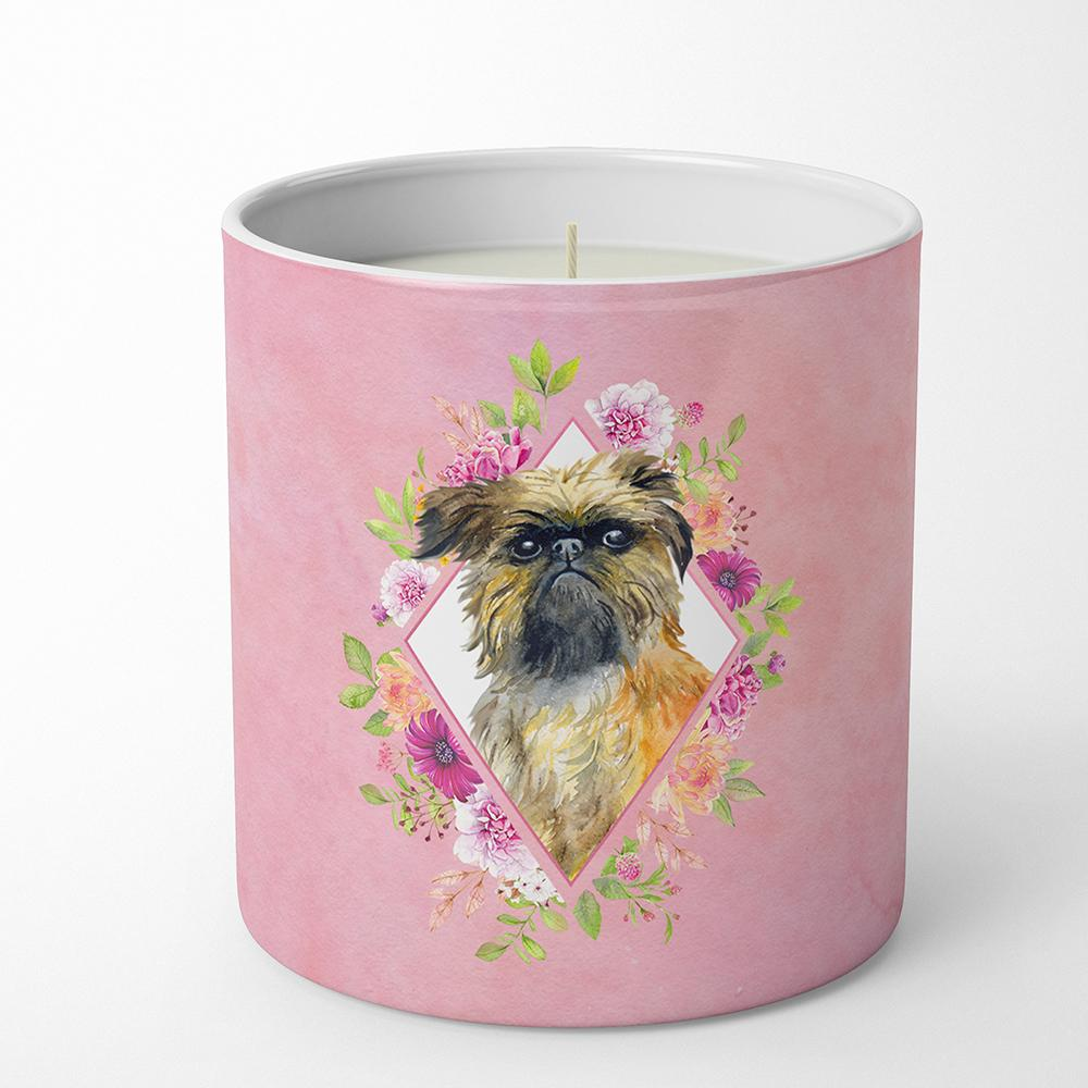 Brussels Griffon Pink Flowers 10 oz Decorative Soy Candle CK4123CDL by Caroline's Treasures