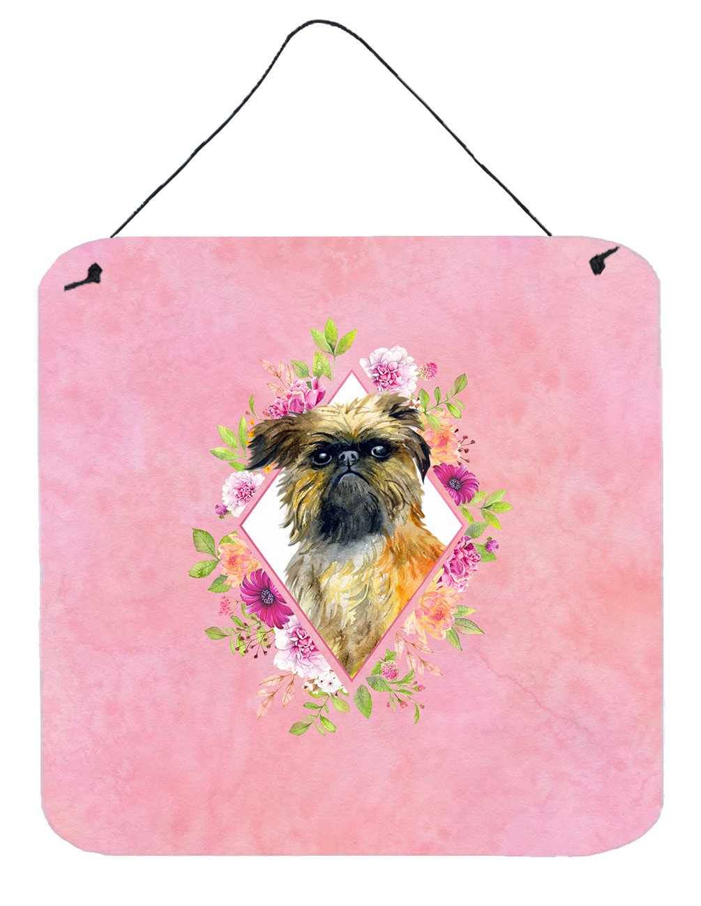 Brussels Griffon Pink Flowers Wall or Door Hanging Prints CK4123DS66 by Caroline's Treasures