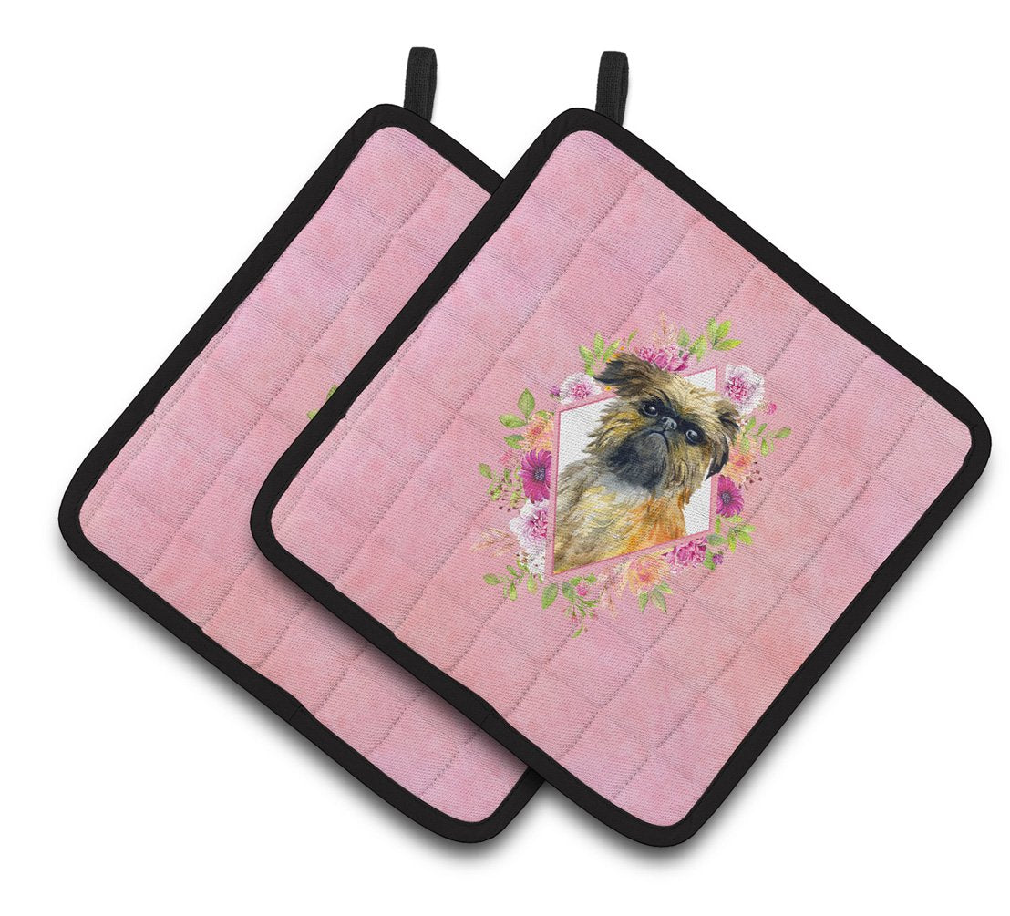Brussels Griffon Pink Flowers Pair of Pot Holders CK4123PTHD by Caroline's Treasures