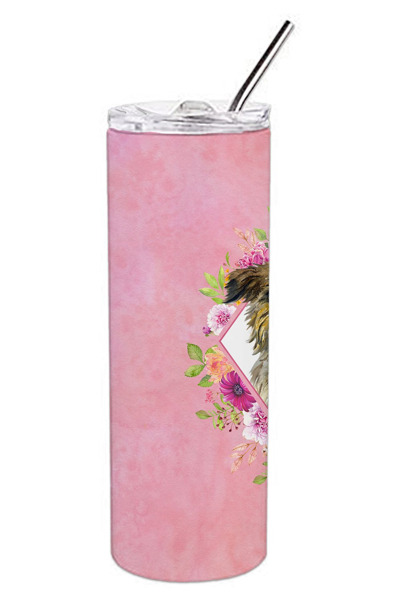 Buy this Brussels Griffon Pink Flowers Double Walled Stainless Steel 20 oz Skinny Tumbler CK4123TBL20