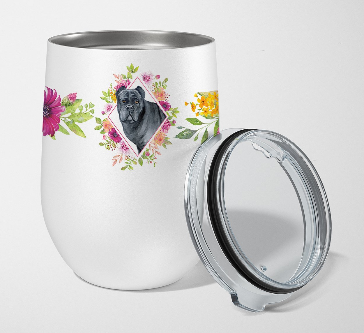 Cane Corso Pink Flowers Stainless Steel 12 oz Stemless Wine Glass CK4125TBL12 by Caroline's Treasures