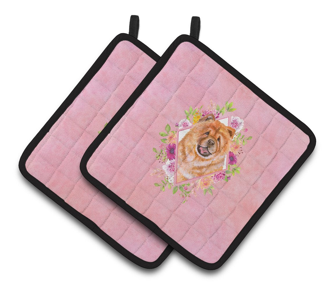 Chow Chow #1 Pink Flowers Pair of Pot Holders CK4131PTHD by Caroline's Treasures