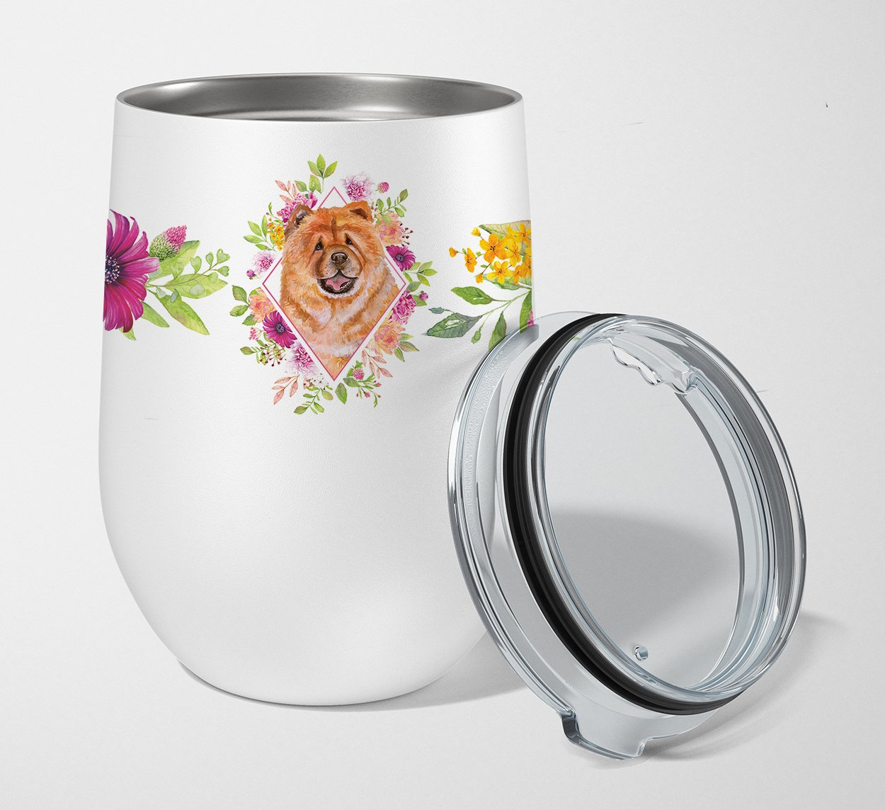 Chow Chow #1 Pink Flowers Stainless Steel 12 oz Stemless Wine Glass CK4131TBL12 by Caroline's Treasures