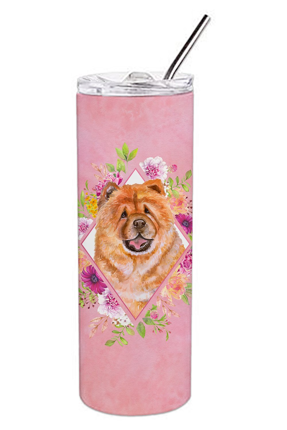 Chow Chow #1 Pink Flowers Double Walled Stainless Steel 20 oz Skinny Tumbler CK4131TBL20 by Caroline's Treasures