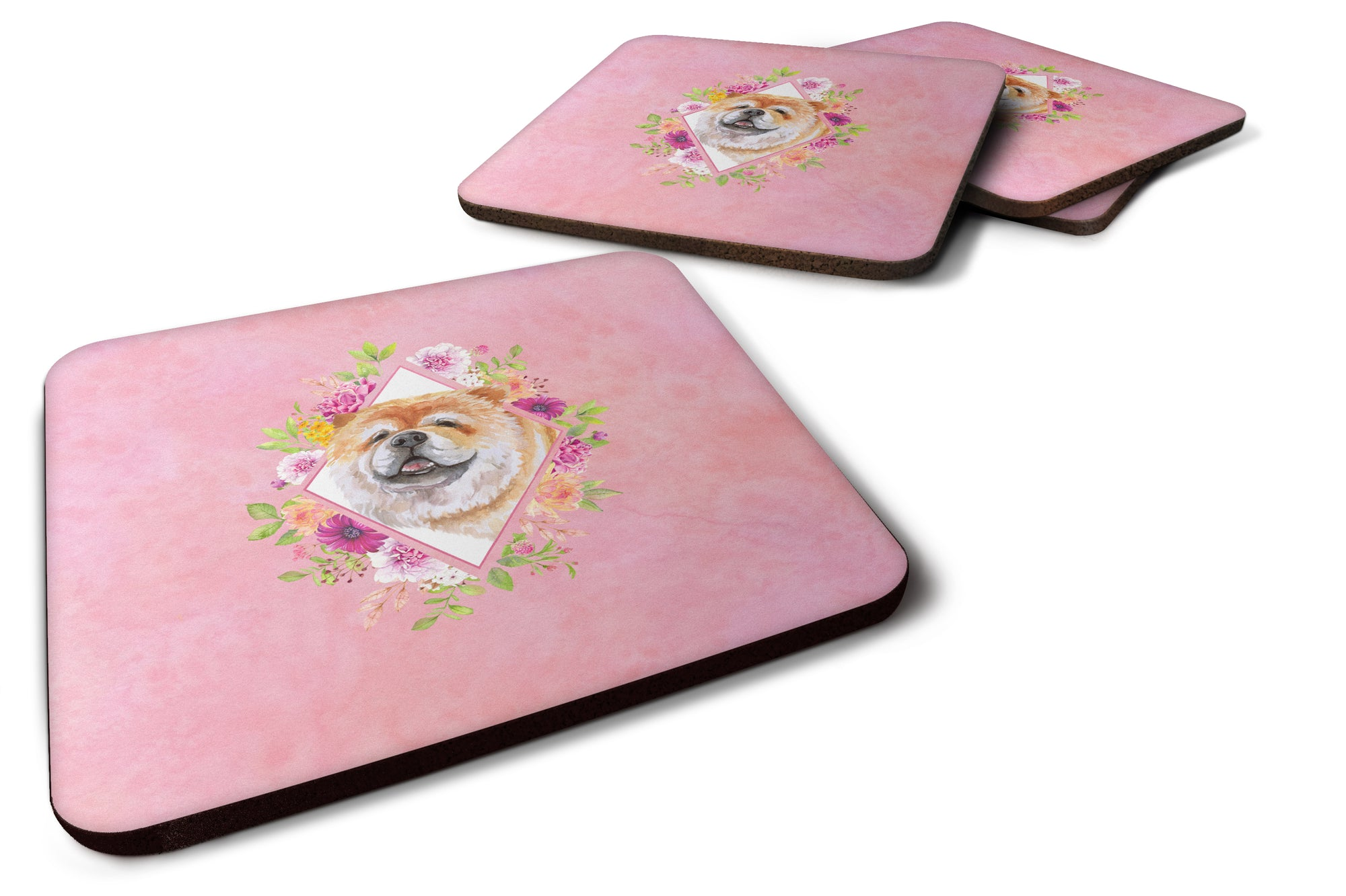 Buy this Set of 4 Chow Chow #2 Pink Flowers Foam Coasters Set of 4 CK4132FC