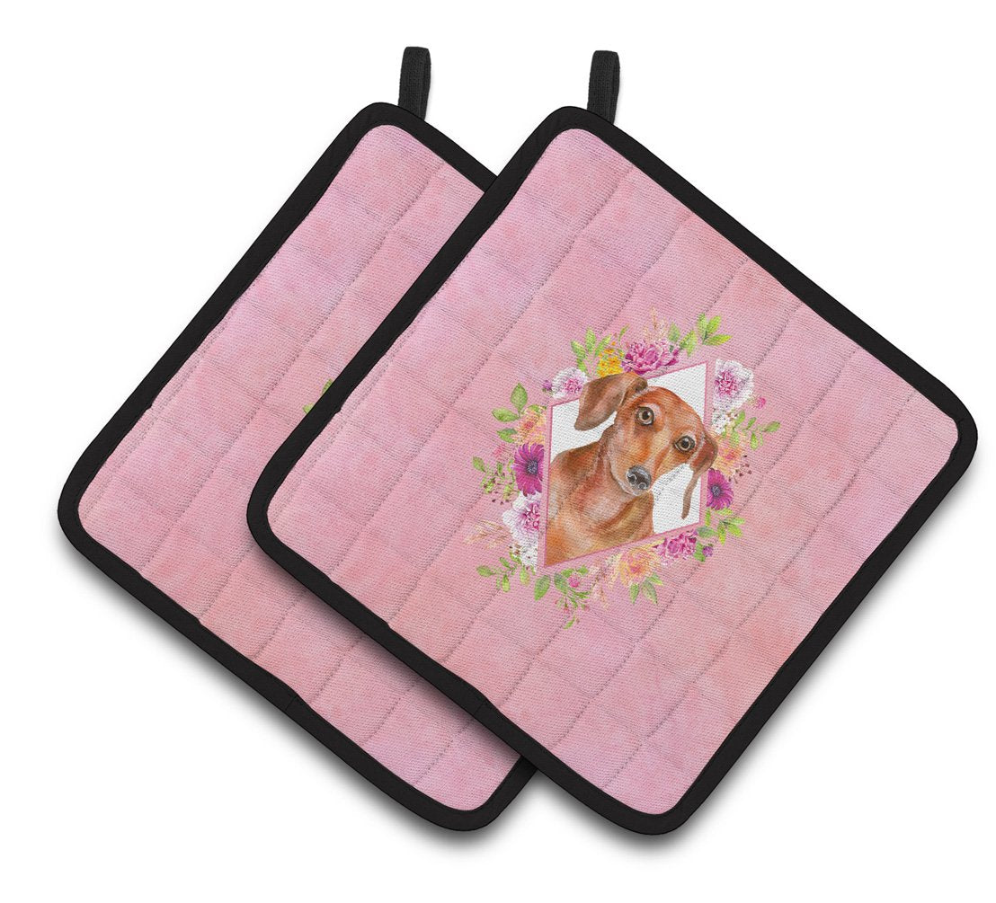 Buy this Dachshund Red #2 Pink Flowers Pair of Pot Holders CK4135PTHD