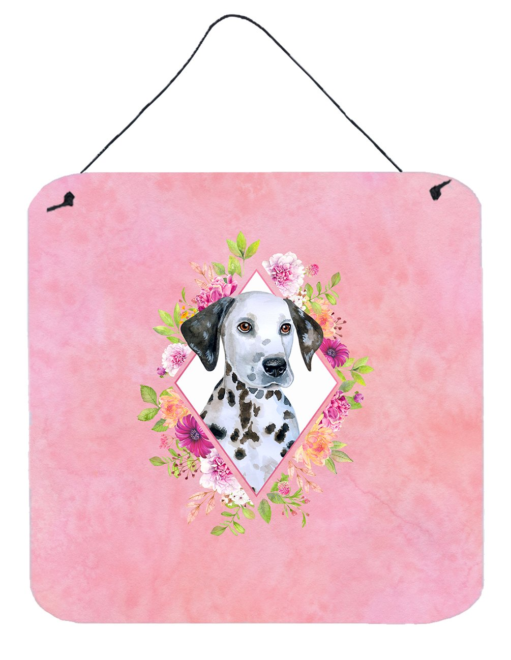 Dalmatian Puppy Pink Flowers Wall or Door Hanging Prints CK4136DS66 by Caroline's Treasures