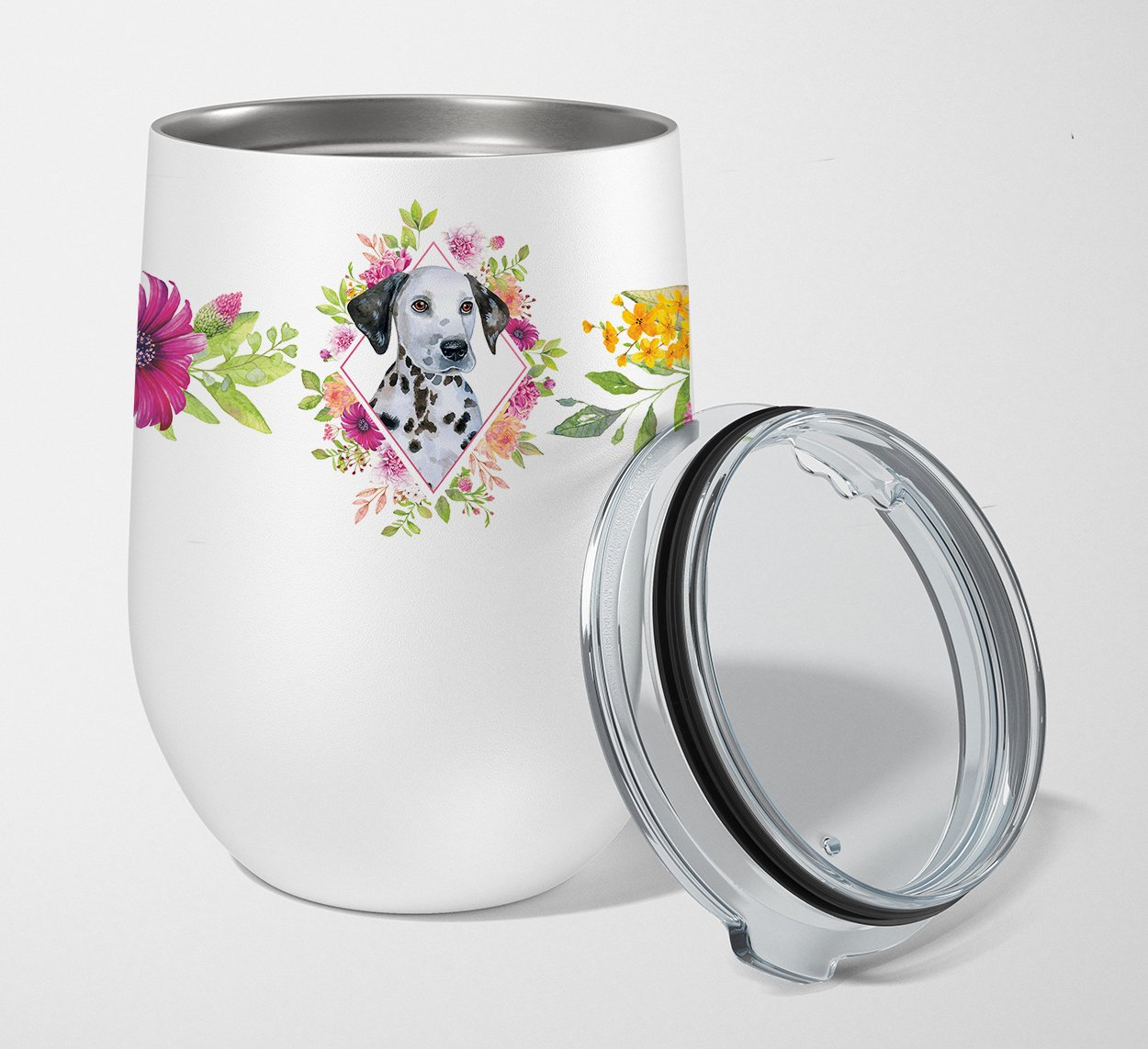 Dalmatian Puppy Pink Flowers Stainless Steel 12 oz Stemless Wine Glass CK4136TBL12 by Caroline's Treasures