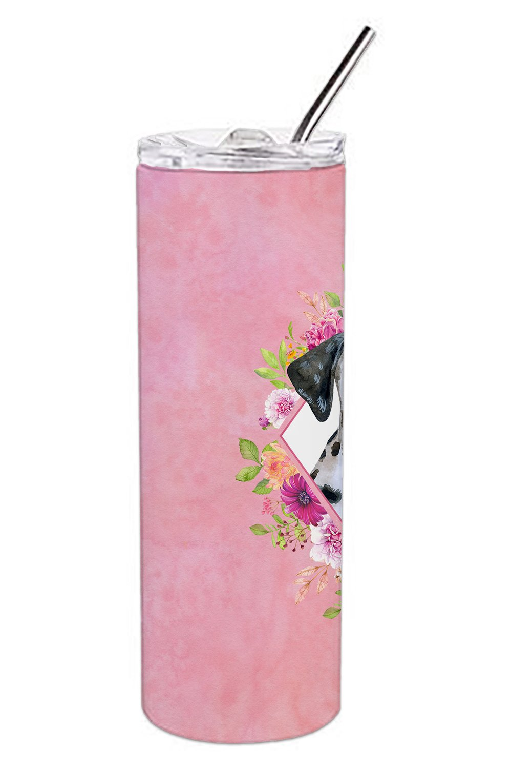 Dalmatian Puppy Pink Flowers Double Walled Stainless Steel 20 oz Skinny Tumbler CK4136TBL20 by Caroline's Treasures