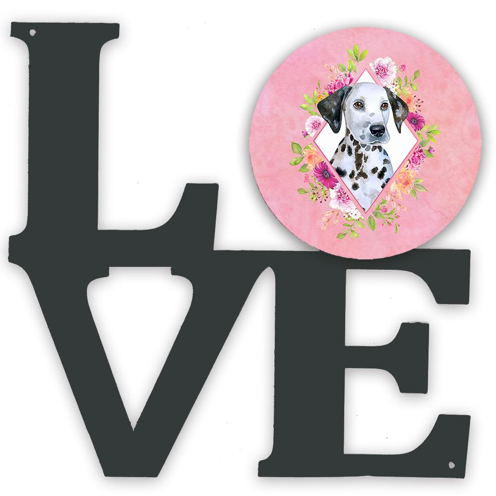 Dalmatian Puppy Pink Flowers Metal Wall Artwork LOVE CK4136WALV by Caroline's Treasures