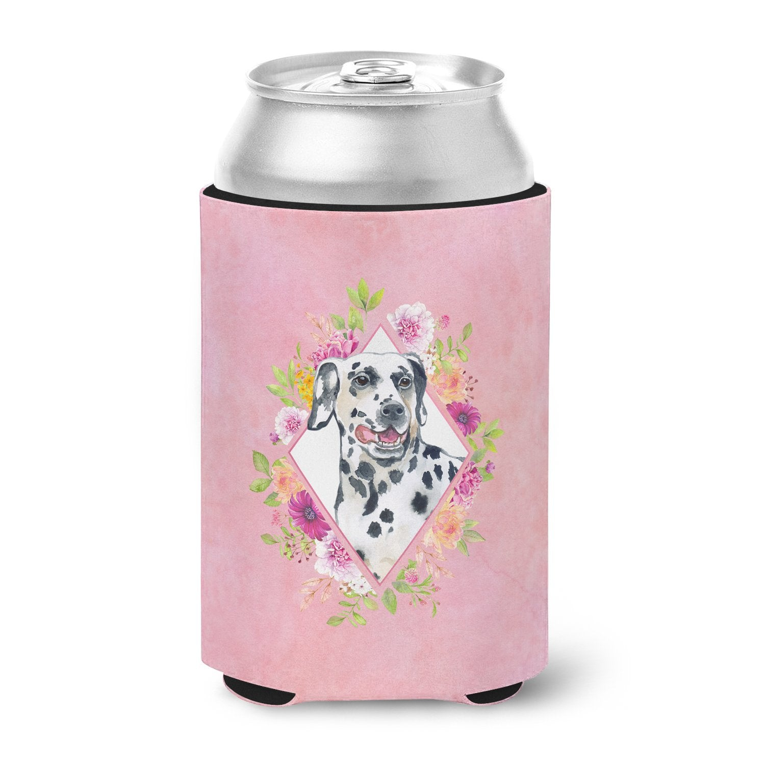 Dalmatian Pink Flowers Can or Bottle Hugger CK4137CC by Caroline's Treasures