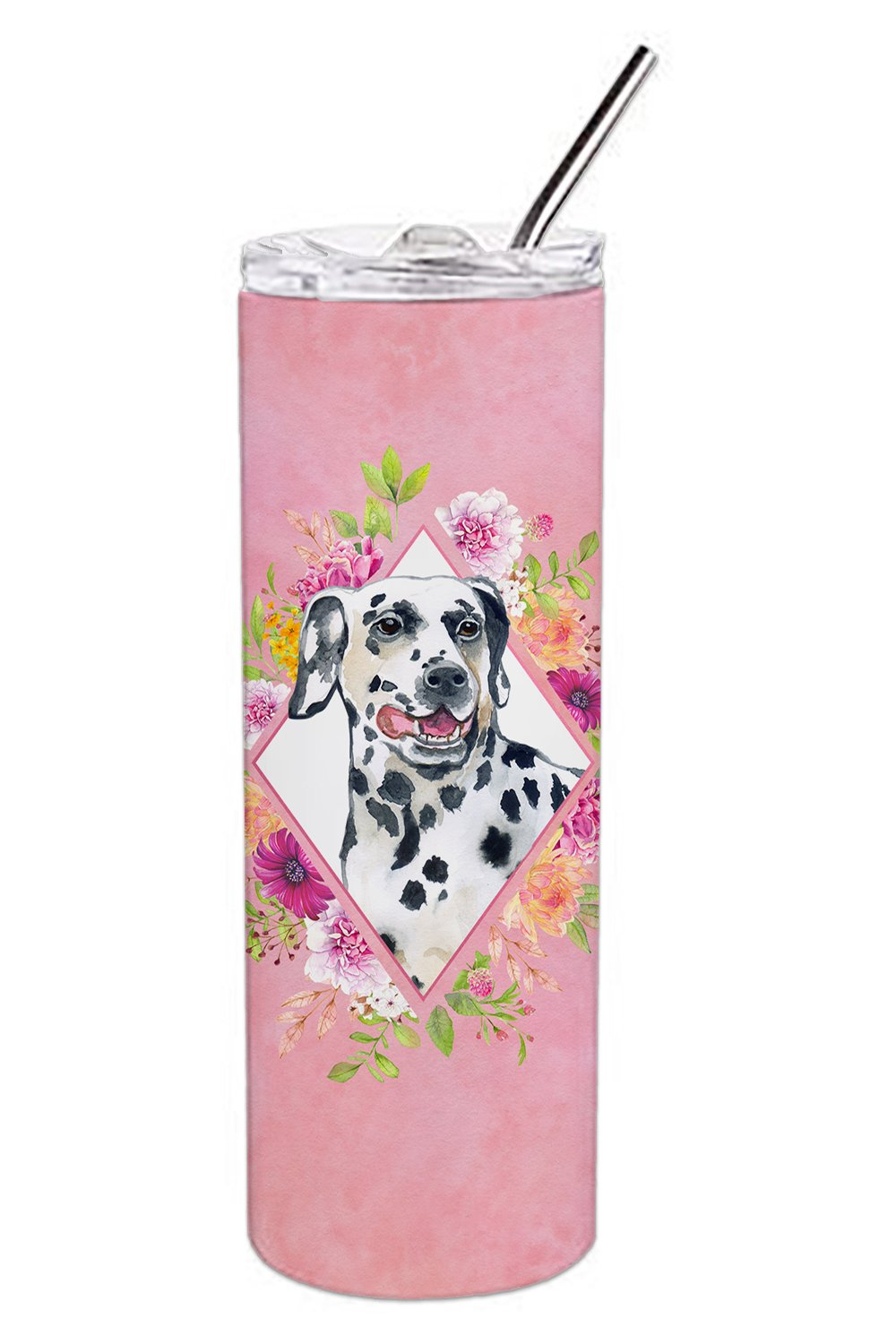 Dalmatian Pink Flowers Double Walled Stainless Steel 20 oz Skinny Tumbler CK4137TBL20 by Caroline's Treasures