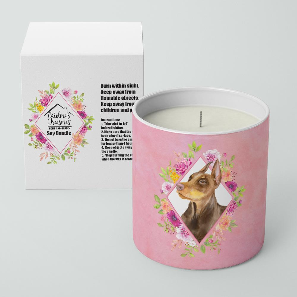 Doberman Pinscher Pink Flowers 10 oz Decorative Soy Candle CK4138CDL by Caroline's Treasures
