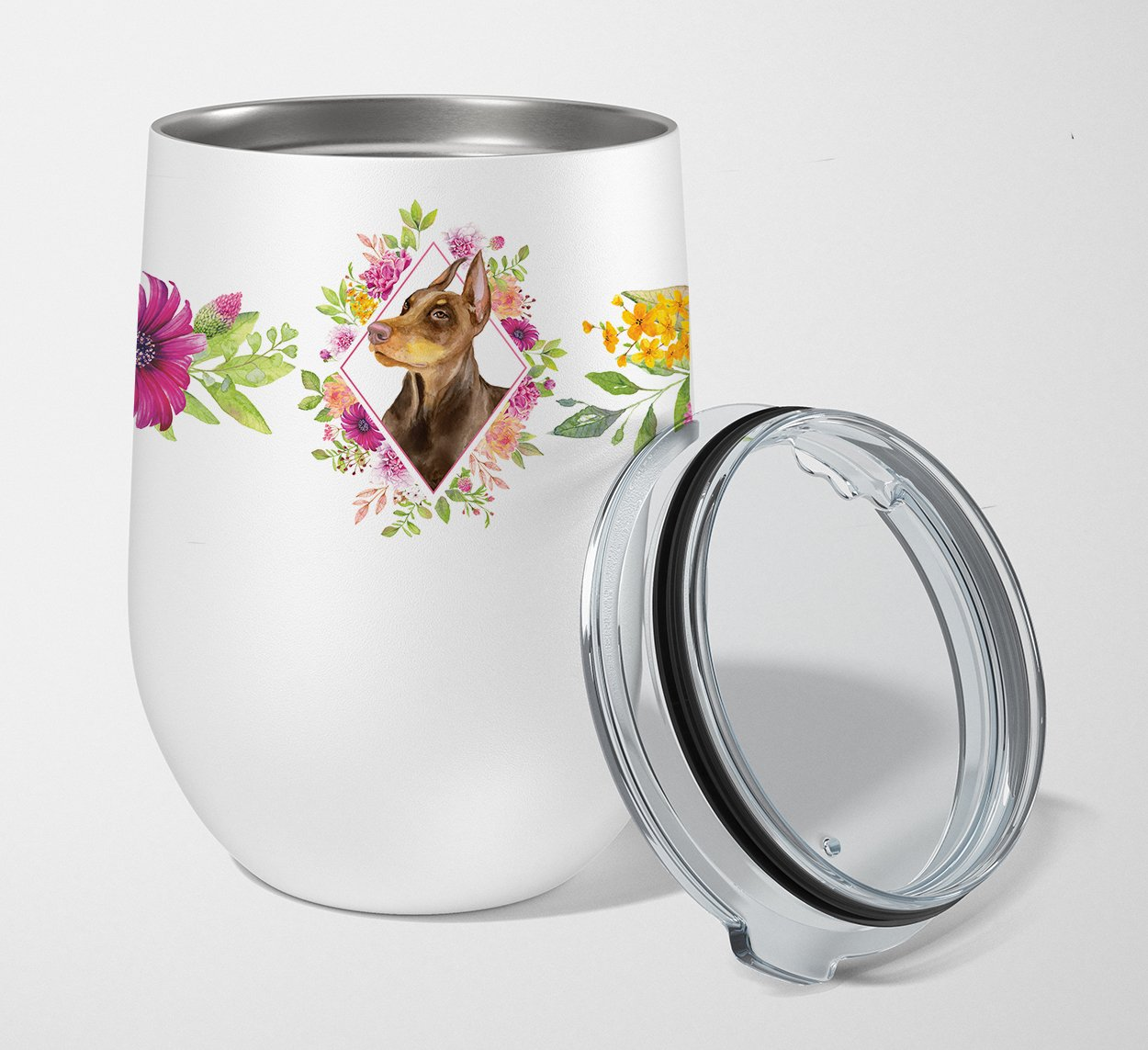 Doberman Pinscher Pink Flowers Stainless Steel 12 oz Stemless Wine Glass CK4138TBL12 by Caroline's Treasures